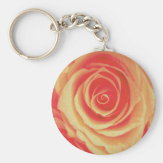 gold and pink rose basic round button keychain