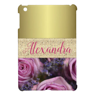 Gold and Pink Roses Personalized iPad Mini Cover