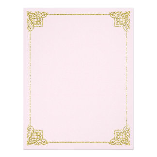 Gold and pink stationery Writing paper 8,5x11