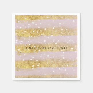 Gold and Pink Stripes Bokeh Confetti Disposable Napkins
