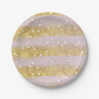 Gold and Pink Stripes Bokeh Confetti Paper Plate