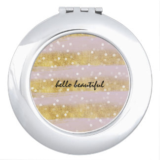 Gold and Pink Stripes Bokeh Confetti Mirror For Makeup