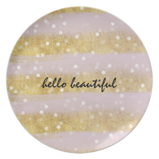 Gold and Pink Stripes Bokeh Confetti Plate