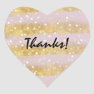 Gold and Pink Stripes Bokeh Confetti Thanks Heart Sticker