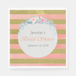 Gold and Pink Stripes Floral Swag Bridal Shower Paper Napkin