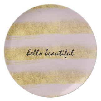 Gold and Pink Stripes Plate