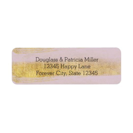 Gold and Pink Stripes Return Address Label
