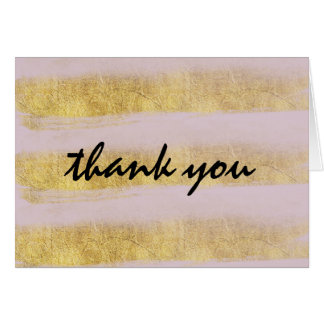 Gold and Pink Stripes Thank You Note Card
