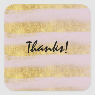 Gold and Pink Stripes Thanks Square Sticker