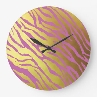 Gold and Pink Tiger Striped Large Clock