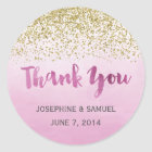 Gold and Pink Watercolor Round Stickers