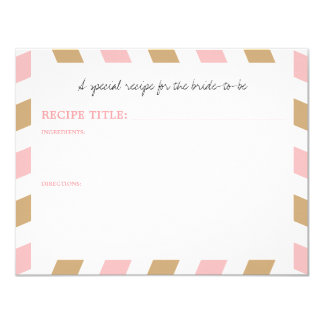 Gold and Pink World Traveler Airmail RECIPE Card