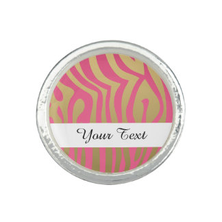 Gold and Pink Zebra Stripes Pattern Photo Rings