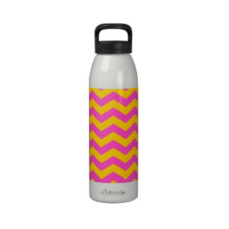 Gold and Pink Zigzag Drinking Bottles