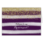 Gold and Plum Will You Be My Bridesmaid Card