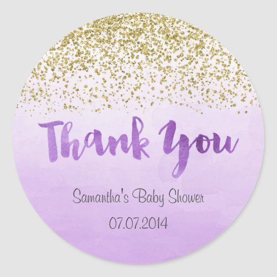 Gold and Purple Baby Shower Sticker