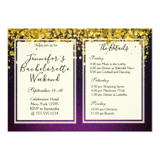 Gold and Purple Bachelorette Weekend Party Card