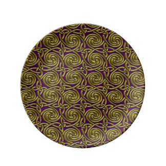 Gold And Purple Celtic Spiral Knots Pattern Porcelain Plates