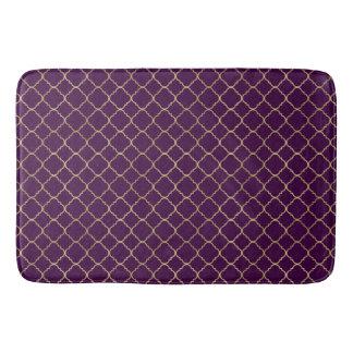 Gold and Purple Chic Quatrefoil Bath Mat