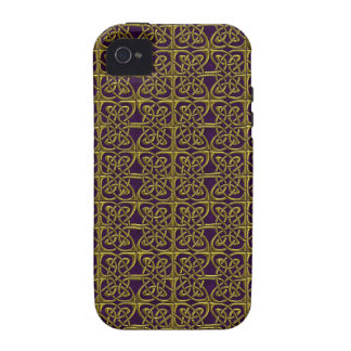 Gold And Purple Connected Ovals Celtic Pattern iPhone 4 Cases