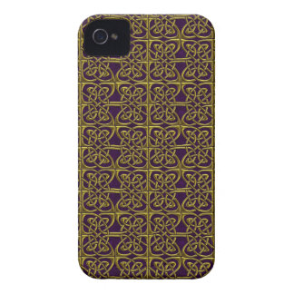 Gold And Purple Connected Ovals Celtic Pattern iPhone 4 Covers