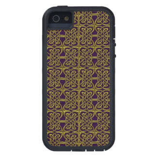 Gold And Purple Connected Ovals Celtic Pattern Case For iPhone 5/5S
