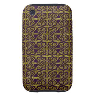 Gold And Purple Connected Ovals Celtic Pattern Tough iPhone 3 Cover