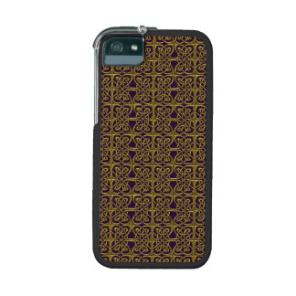 Gold And Purple Connected Ovals Celtic Pattern iPhone 5 Cases