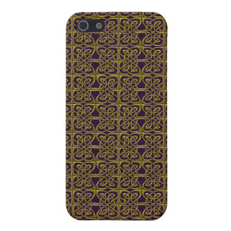 Gold And Purple Connected Ovals Celtic Pattern Cover For iPhone 5