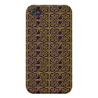 Gold And Purple Connected Ovals Celtic Pattern iPhone 4/4S Cases