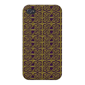 Gold And Purple Connected Ovals Celtic Pattern Cases For iPhone 4