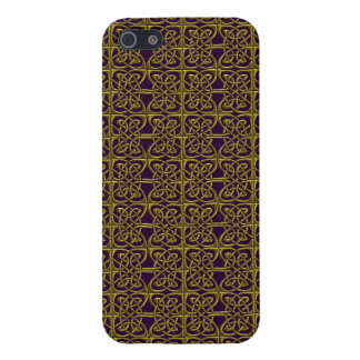 Gold And Purple Connected Ovals Celtic Pattern Cases For iPhone 5