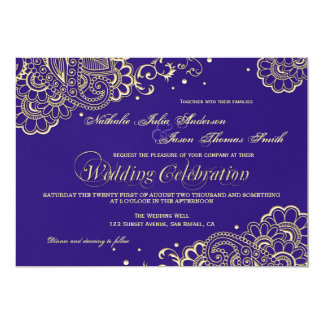 Gold and Purple Henna Lace Wedding Invitation
