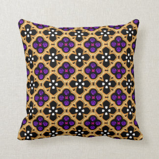 Gold and Purple Holiday Bling Throw Pillow
