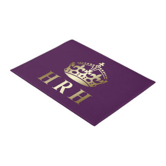 Gold And Purple HRH Royal Crown Doormat