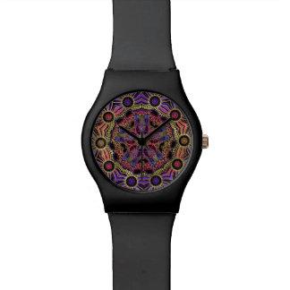 Gold and Purple Lace Mandala Wristwatches