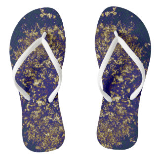 Gold and purple pattern flip flops