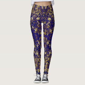 Gold and purple pattern leggings
