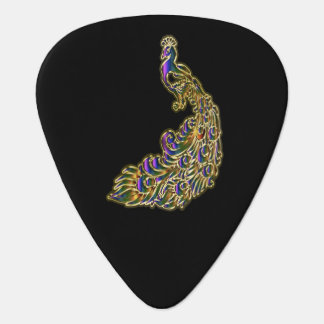 Gold and purple peacock glimmering brightly guitar pick
