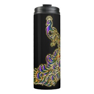 Gold and purple peacock glimmering brightly thermal tumbler