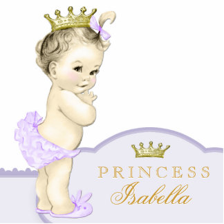 Gold and Purple Princess Baby Shower Photo Sculpture