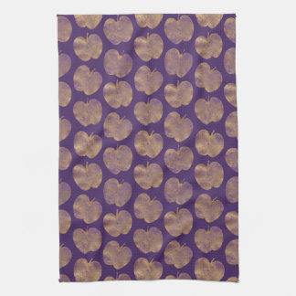 Gold and Purple Textured Apples Kitchen Towel