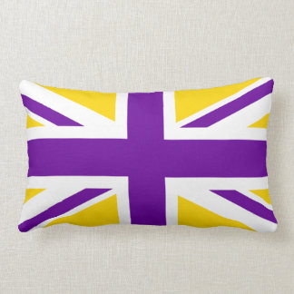 Gold and Purple Union Jack Lumbar Pillow