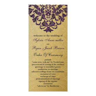 gold and purple Wedding program Rack Card Design