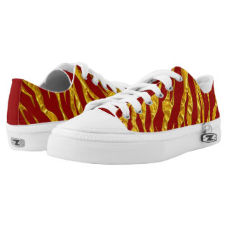 Gold And Red Animal Tigers Stripes Low-Top Sneakers