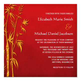 "Gold and Red Bamboo Asian Wedding Invitations 5.25"" Square Invitation Card"