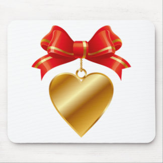 Gold and Red Bow Golden Heart - Love Mouse Pad