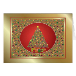 Gold and Red Christmas Tree Card
