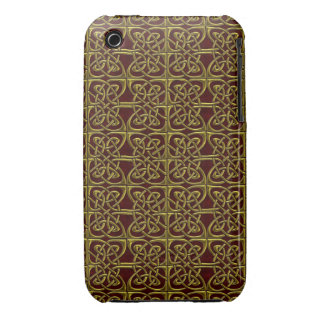 Gold And Red Connected Ovals Celtic Pattern iPhone 3 Covers