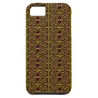Gold And Red Connected Ovals Celtic Pattern Cover For iPhone 5/5S